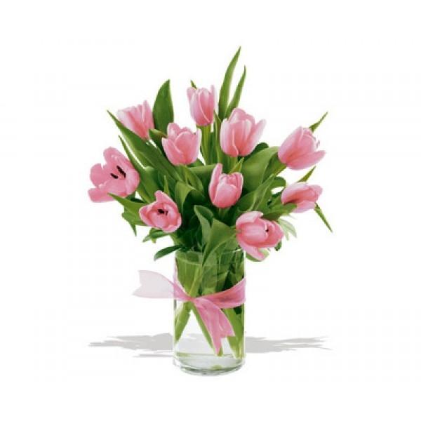 Bukiet 10 tulipanów różowych