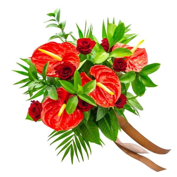 Bukiet z czerwonym anturium - Poczta kwiatowa, dostawa kwiatów