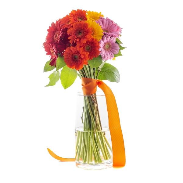 Frywolny bukiet kolorowych mini gerber - Poczta kwiatowa, dostawa kwiatów