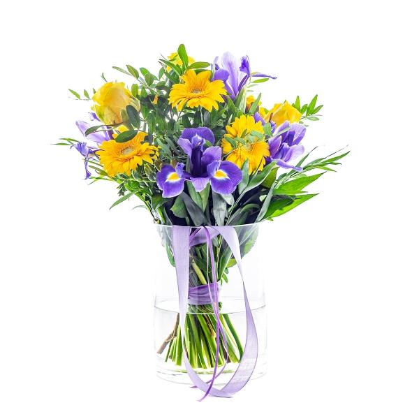 Radosny bukiet irysów z eustomą lawendową - Poczta kwiatowa, dostawa kwiatów