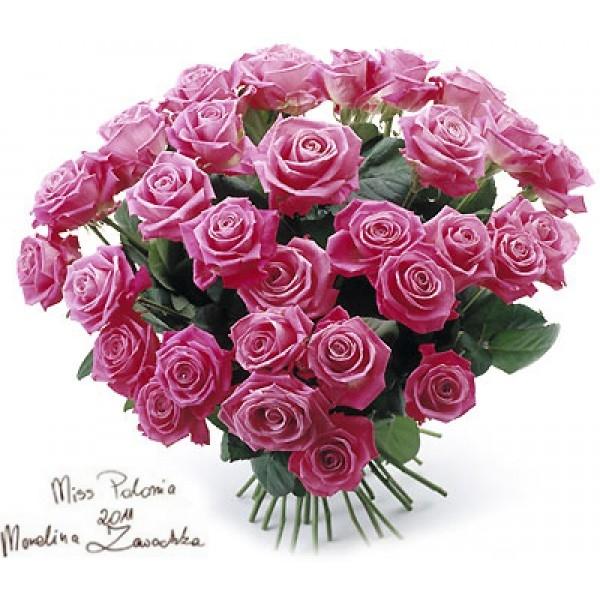 Bukiet 35 róż różowych