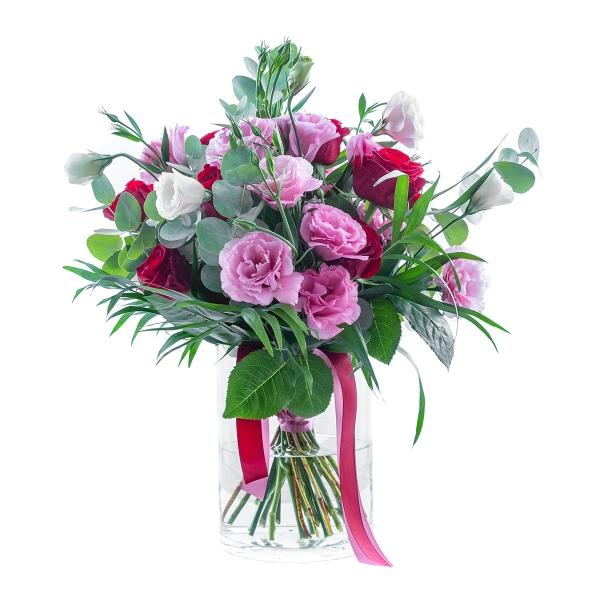 Bukiet z eustomy różowej i róży bordo