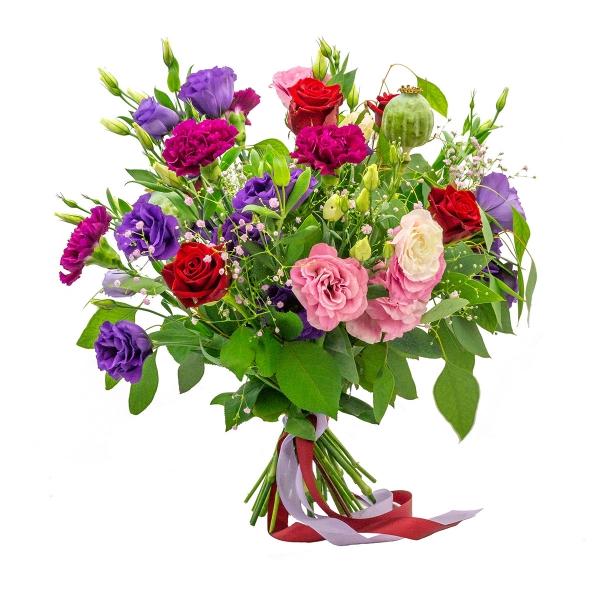 Radosny bukiet eustom z bordową różą
